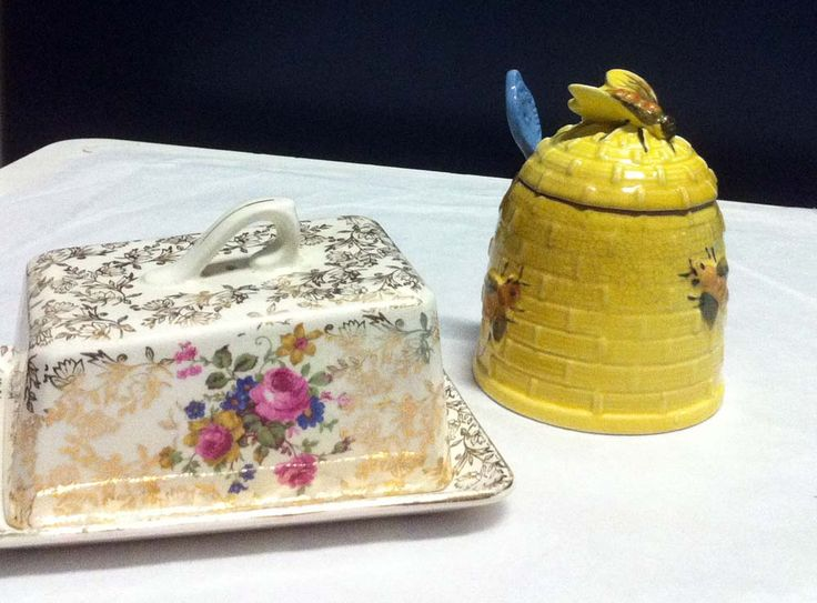 Butter dish and honeypot