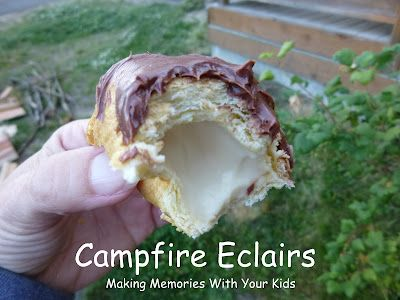 Campfire eclairs - biscuit dough, pudding, and frosting. Another campfire treat idea yet to try: toasted Tootsie Rolls or Starburst.