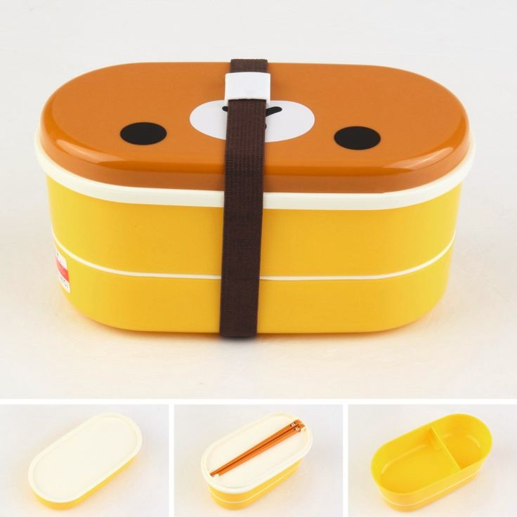 High Quality 1Set Plastic Bento Lunch Box Brown Color Microwave Rilakkuma Bento Multilayer Children Lunch Box bento box