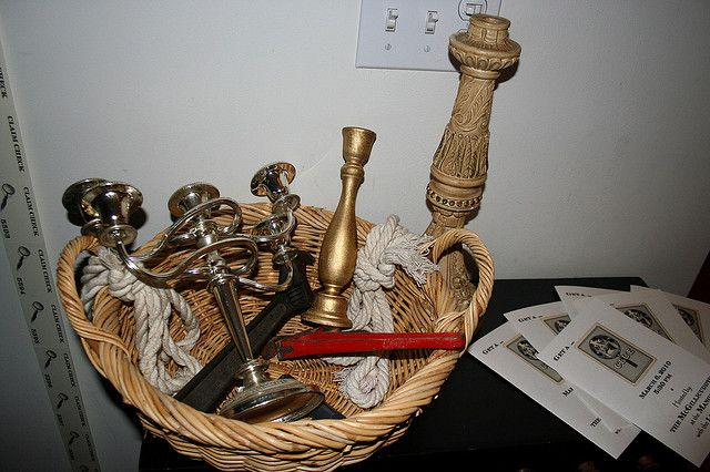 CLUE Party... I love this basket of weapons as party decor.