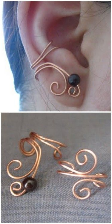 DIY Ear Cuff. Found at Little Bit Crafting here. She made these using the tutorial she found on Cut Out + Keep here.