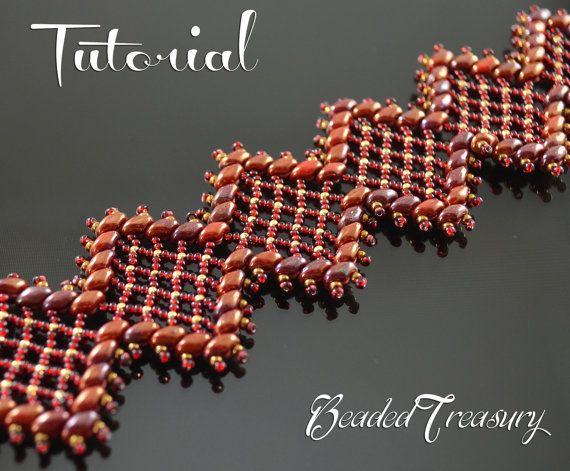 Beaded bracelet pattern with Superduo and seed by BeadedTreasury
