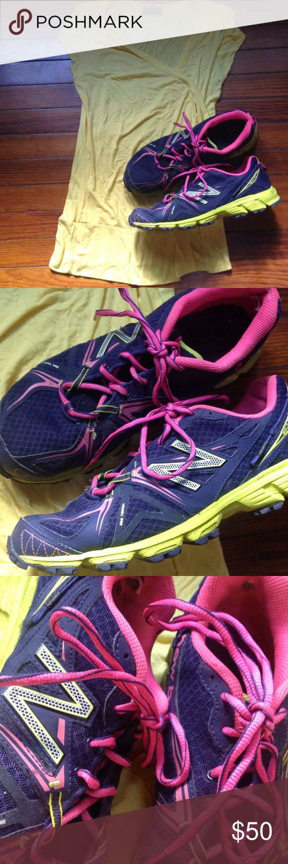 All Terrain New Balance athletic sneakers size 11 All terrain New Balance athletic sneakers size 11 purple pink neon green perfect stability and comfort for working out running walking etc tread is in good shape New Balance Shoes Athletic Shoes