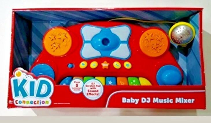 Baby DJ music mixer has scratch pad and joystick and detachable microphone. Plays 3 Instrument Sounds! Battery life 4 hours. Batteries required Yes. Batteries: 3 AA batteries required. (included). | eBay!