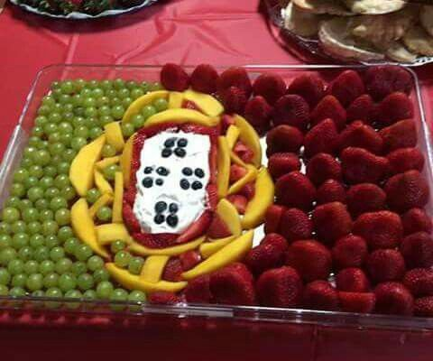Portuguese flag made out of fruit                                                                                                                                                                                 More
