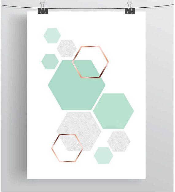 Mint Art, Mint Print, Copper Art, Rose Gold Print, Geometric Print, Pastel Art, Hexagon Poster, Kids Room Art, Mint Home Decor, Digital Art