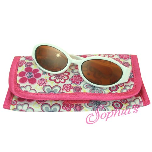 These sunglasses are perfect to protect dolly's eyes from the sun and they make a great fashion statement too!  They come with a cute floral case for keeping the sunglasses safe when not being worn.