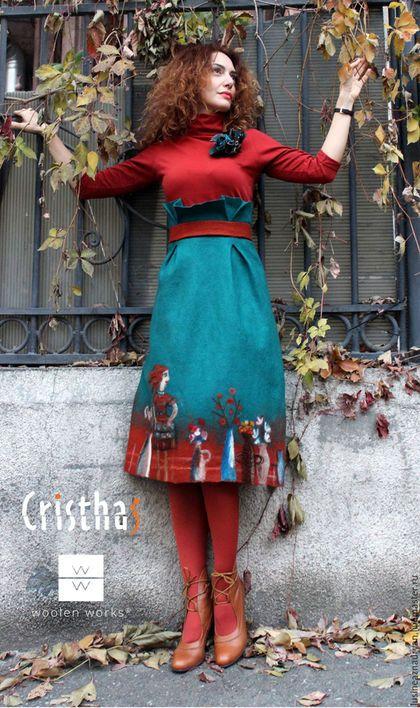 Купить или заказать Валяная юбка 'Рыжая осень ' в интернет-магазине на Ярмарке Мастеров. Валяная юбка 'Цветущая осень ' ручной работы из австралийского тонкого мериноса 18 микрон. Эта юбка может стать украшением вашего гардероба, дорогие женщины и девушки :) Авторская совместная работа с очень хорошей художницей Кристиной Аветисян…
