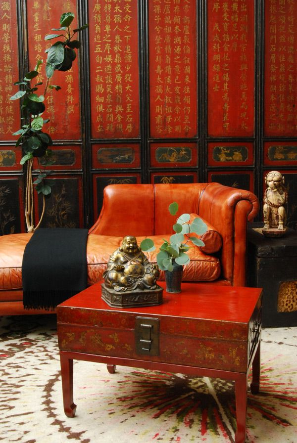 Care to rest on the chaise lounge and contemplate on the Chinese screen?: