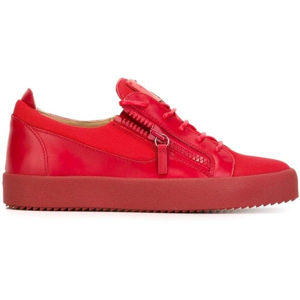 Giuseppe Zanotti Design 'Frankie' low-top sneakers ($333) ❤ liked on Polyvore featuring men's fashion, men's shoes, men's sneakers, red, shoes, mens low profile shoes, mens red leather shoes, mens flat shoes, mens red shoes and mens leather sneakers