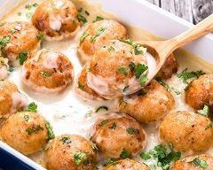 boulettes de veau sauce crème aux champignons