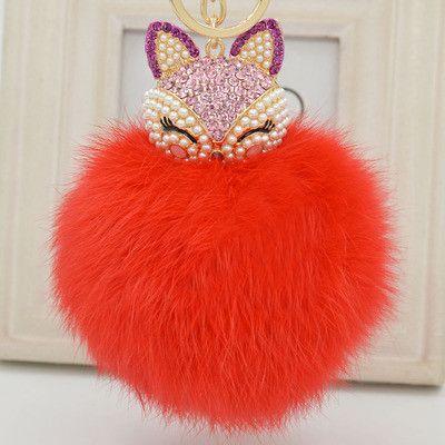 2016 New Gift Cute Bling Rhinestone Fox Real Rabbit Fur Ball Fluffy Keychain Car Key Chain Ring Pendant