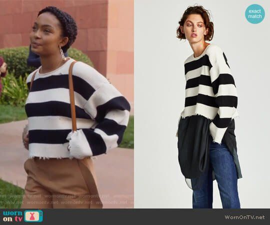 9277e792e7255 Zoey s striped sweater on Grown-ish. Outfit Details  https   wornontv