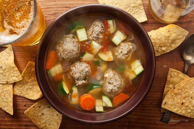 Mexican Turkey Meatball Soup -- easy & healthy one pot dinner!