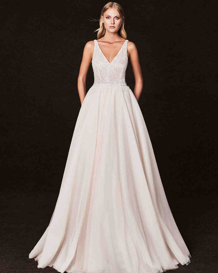 Victoria Kyriakides Fall 2017 Wedding Dress Collection   Martha Stewart Weddings – Long-sleeve V-neck ball gown wedding dress