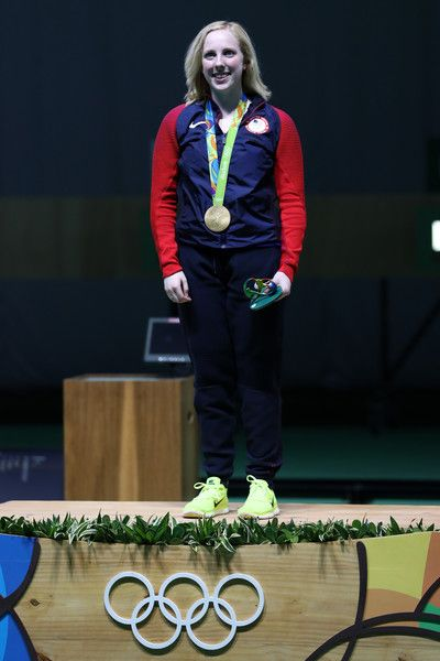Virginia Thrasher of the United States celebrates after winning the gold medal in the 10m Air Rifle Women's Finals on Day 1 of the Rio 2016 Olympic Games at the Olympic Shooting Centre on August 6, 2016 in Rio de Janeiro, Brazil.