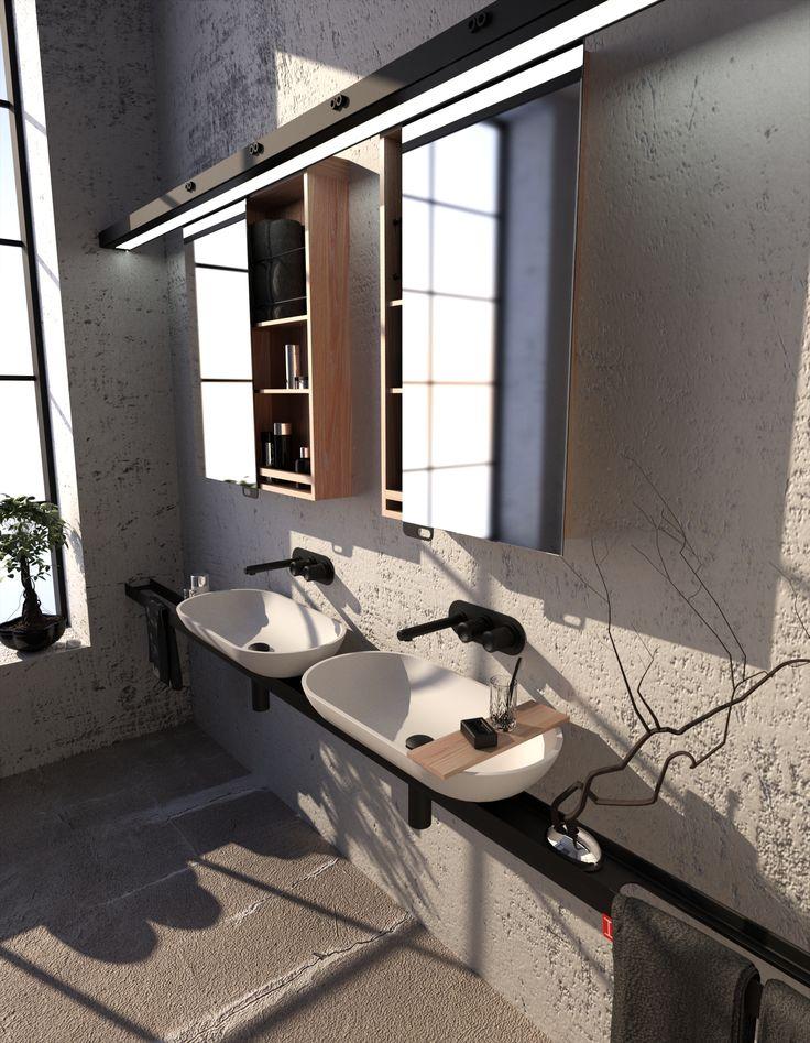 """V průniku drsného a jemného světa, tj. v užití """"I"""" profilu v intimním prostředí koupelny, se nese nevšední myšlenka kolekce INDUSTRY. Designer: Martin Tochaczek & Roman Kalousek"""