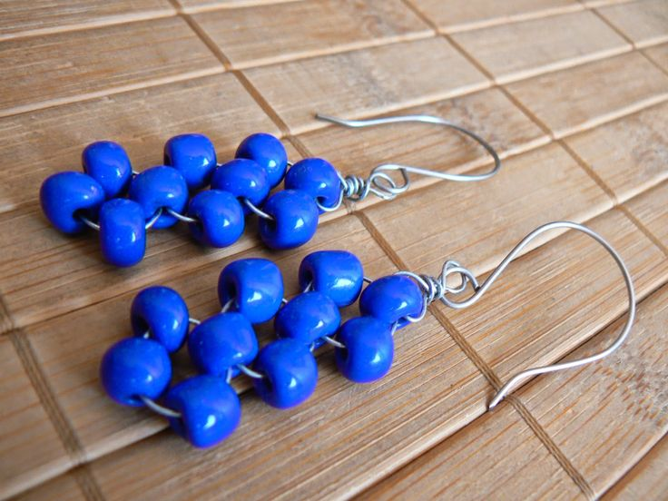 Tybetański Mnich: Plecione, earrings, blue, wicker, silver, handmade, wire wrapping