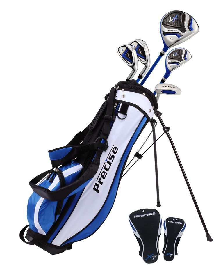 Precise X7 Junior Complete Golf Club Set for Children Kids - 3 Age Groups Sizes Available - Boys & Girls - Right Hand & Left Hand! (Blue Ages 9-12, Left Hand)