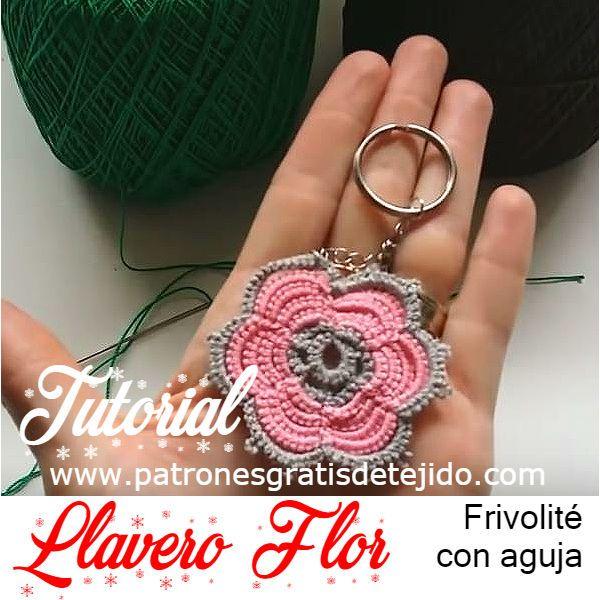 Llavero con forma de flor tejido con frivolíté con aguja tutorial