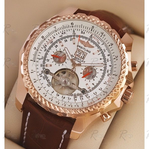 $107.00 Best Automatic Breitling Bentley Mulliner Tourbillon White Dial Brown Leather Watch