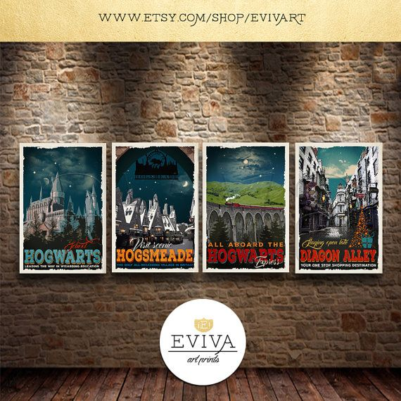 SET of FOUR Harry Potter inspired Travel Posters - Vintage Print Wall Art Christmas House Warming Gift Vintage style J.K. Rowlings Harry Potter
