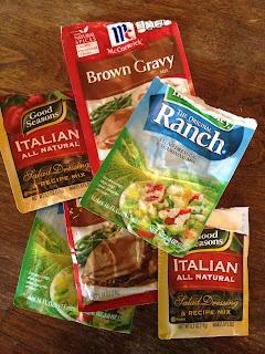 Craving Comfort: Perfect Pot Roast (Crock Pot and Oven Method) 3 lb Pot roast, 1 pack dry Ranch Salad Dressing, 1 pack dry Italian Salad Dressing, 1 pack dry brown gravy mix, 2 Cups water