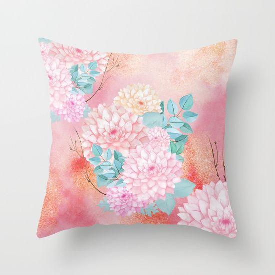 Gold dahlia bouquet #society6 Throw Pillow