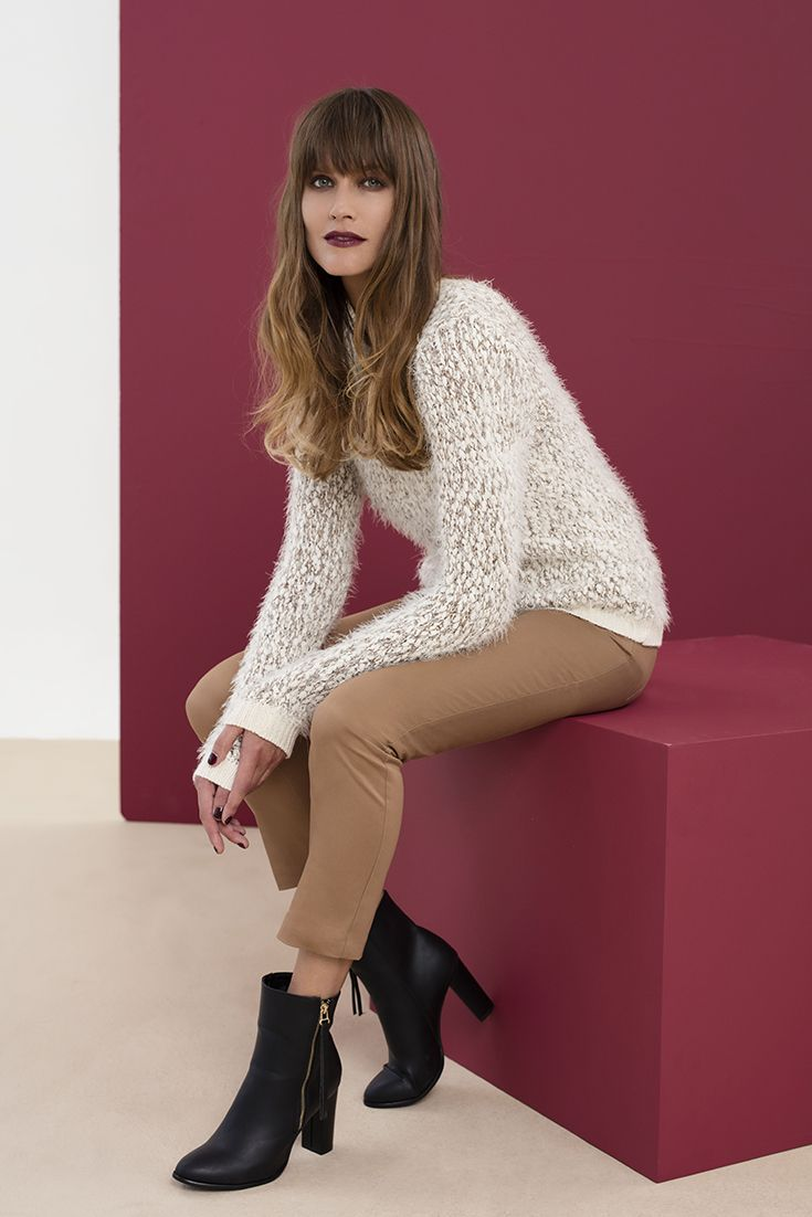 Faux fur to daring for you, try the the love fur sweater, wear with tapered pants. #lovefur