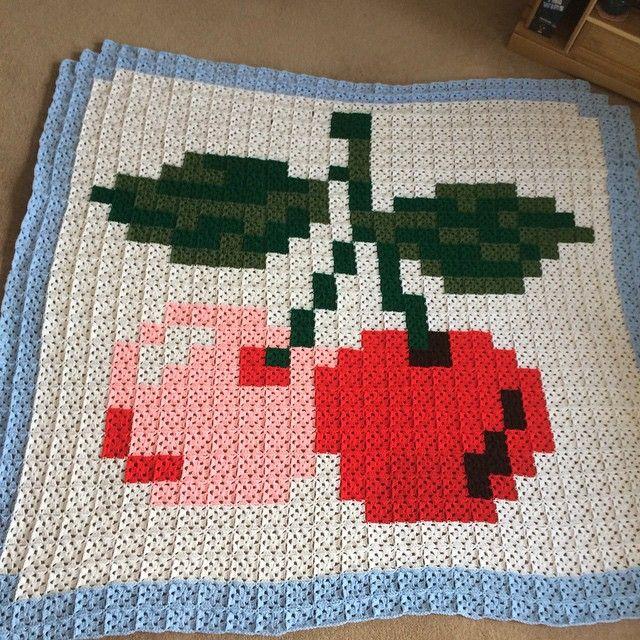 Cherries pixel crochet blanket by Donna Louise