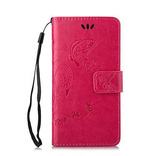 OMATENTI iPhone 6 / 6S ケース (強化ガラスフィルムを無料で贈ります) Apple iPhone6 iPhone6S 高級PUレザー ケース 手帳型 保護ケース カード収納ホルダー付き 横置きスタンド機能付き マグネット式 スマホケース [全10色] (ホットピンク)