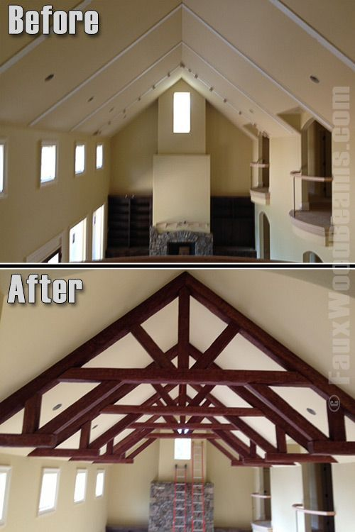 16 best images about before and after on pinterest the for Fake wood beams for ceiling