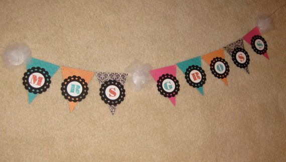 Personalized custom teacher name banner, coordinates with Dots on Turquoise decor on Etsy, $25.00
