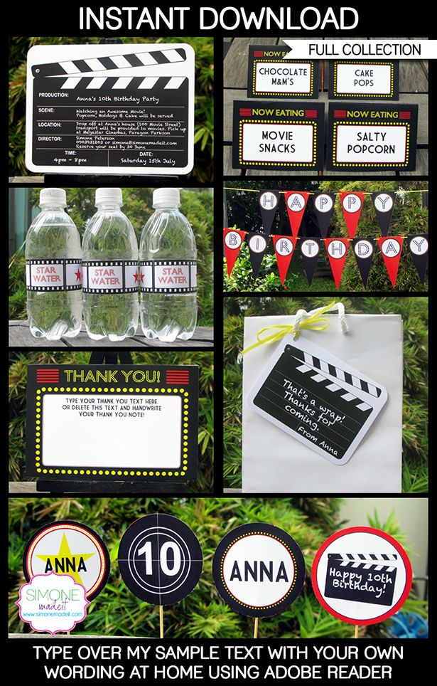 Instantly download my Movie Party Printables, Invitations & Decorations! Personalize the templates easily at home & get your Movie Party started now!