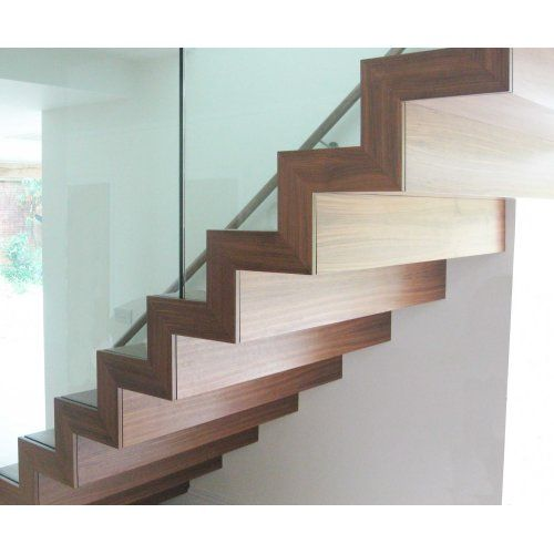 Best Profiled Walnut Staircase With Frameless Glass Balustrade 400 x 300