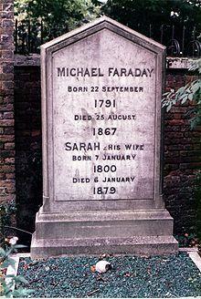 Michael Faraday's grave at Highgate Cemetery, London.    https://en.wikipedia.org/wiki/Michael_Faraday