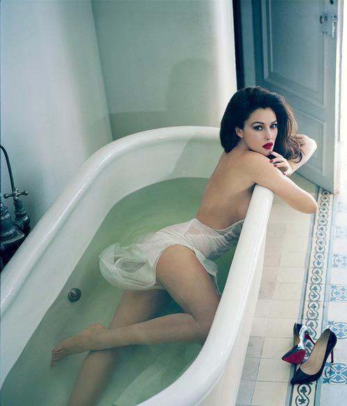 Monica Belluci - bath tub photography photoshoot