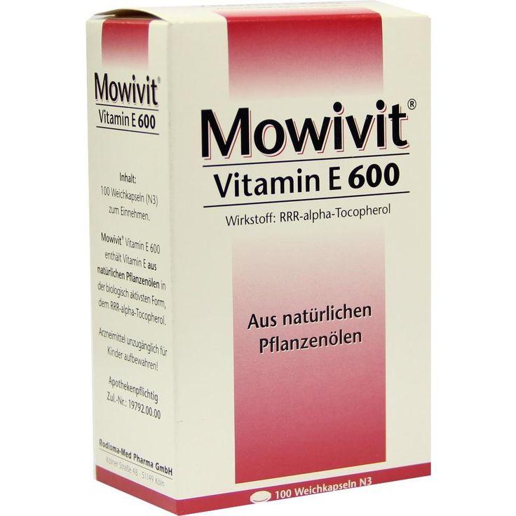 MOWIVIT Vitamin E 600 Kapseln:   Packungsinhalt: 100 St Kapseln PZN: 04675605 Hersteller: Rodisma-Med Pharma GmbH Preis: 24,00 EUR inkl.…