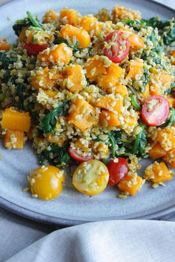 Freekeh salade met geroosterde pompoen en spinazie | Francesca Kookt!