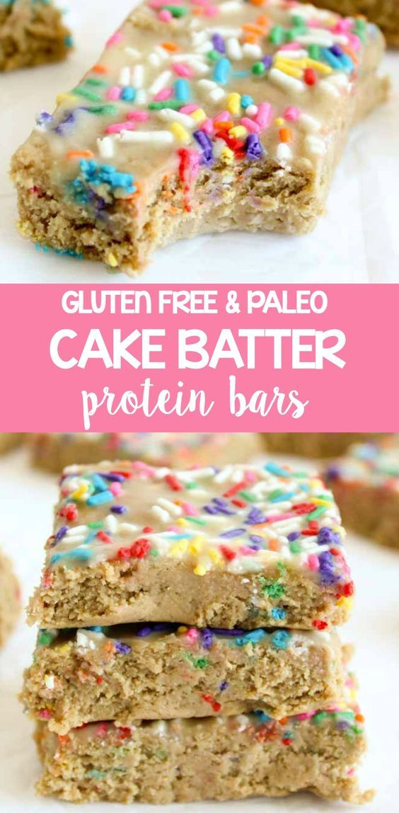 Healthy Cake Batter Protein Bars - they're made with cashew butter protein and…