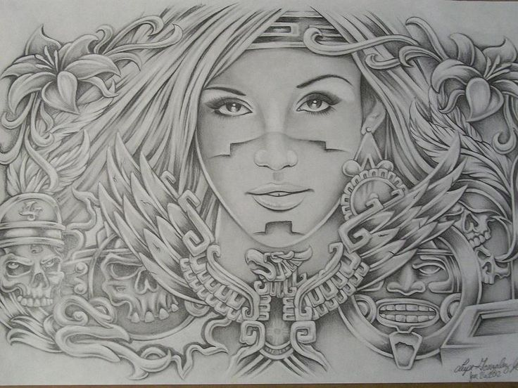 Art Drawings of Women | Aztec Design Drawing by Lupe ...