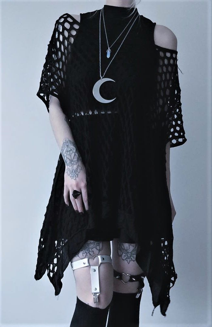 Moon pendant necklace with black dress, under crop top, skater skirt & garter belt by kibbipixel