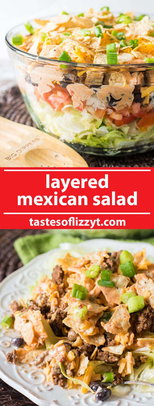 A simple Mexican salad with layers of veggies, seasoned ground beef, cheese, crunchy tortilla chips and a special 3-ingredient sauce.  via…