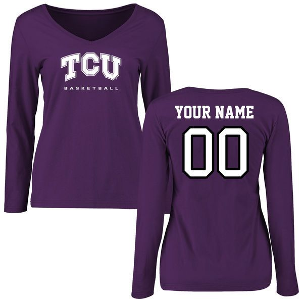 TCU Horned Frogs Women's Purple Personalized Basketball Slim Fit Long Sleeve T-Shirt