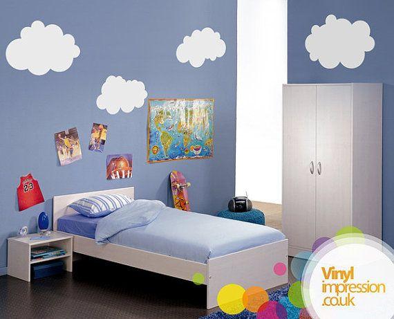 6 Fluffy Clouds Vinyl Wall Sticker  60 x 30 cm by Vinylimpression
