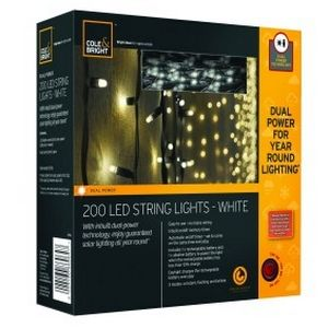 From Cole and Bright this outdoor fairy lights come in sets of 100 or 200. Normally run off solar power but when solar battery is low back up battery kicks in to power lights.