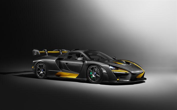 Download wallpapers McLaren Senna Carbon Theme, 4k, 2018 cars, hypercars, McLaren