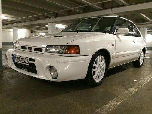 Deze witte Mazda 323 GT-R uit 1993 met 141.000km op de teller wordt te koop…
