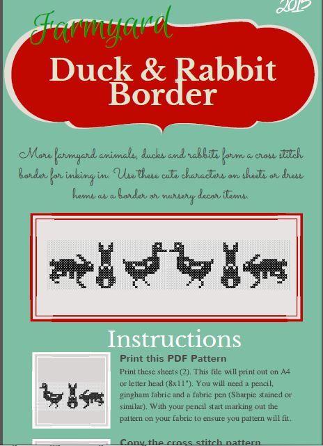 DIY Duck and Rabbit border cross stitch design by talkingwithnana