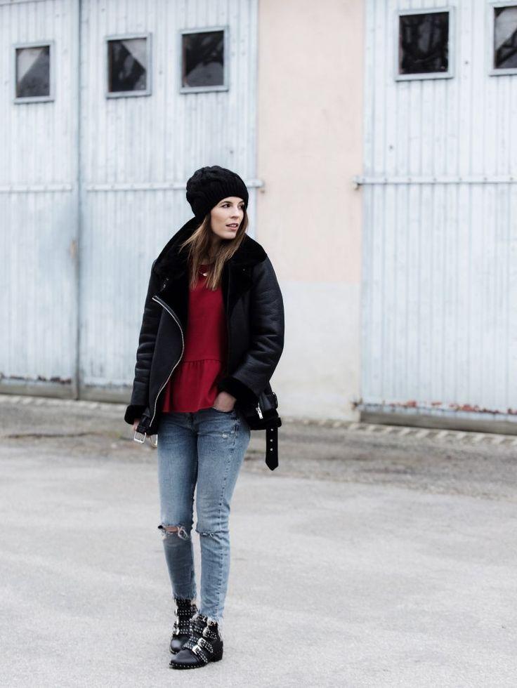 Bombardier bomber Zara bonnet fourrure fur bag sac luxe Chloé Faye like python boots Givenchy like clous studs studded look outfit fashion blog